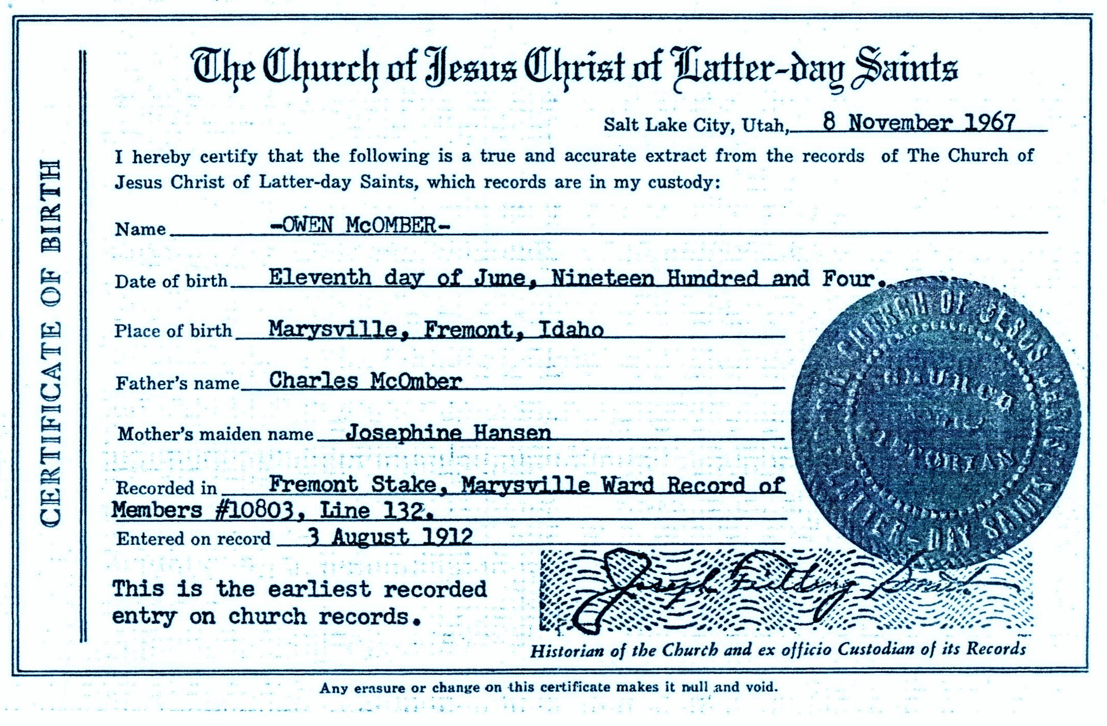 Owen mcomber mcomber bygone days birth certificate for owen harol mcomber aiddatafo Gallery